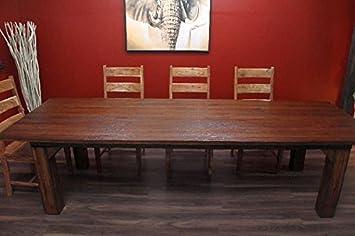 esstisch teak holz massiv k chentisch alt bauerntisch 300cm dc759. Black Bedroom Furniture Sets. Home Design Ideas