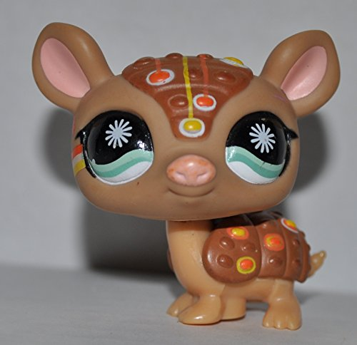 Armadillo #1007 (Tan, Aqua Eyes,) - Littlest Pet Shop (Retired) Collector Toy - LPS Collectible Replacement Single Figure - Loose (OOP Out of Package & Print)
