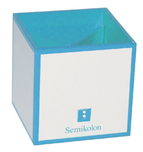Semikolon White Classics Collection Desktop Pen And Pencil Holder, Turquoise Accents