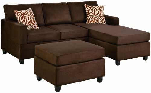 Bobkona Manhattan Reversible Microfiber 3-Piece Sectional Sofa Set, Chocolate