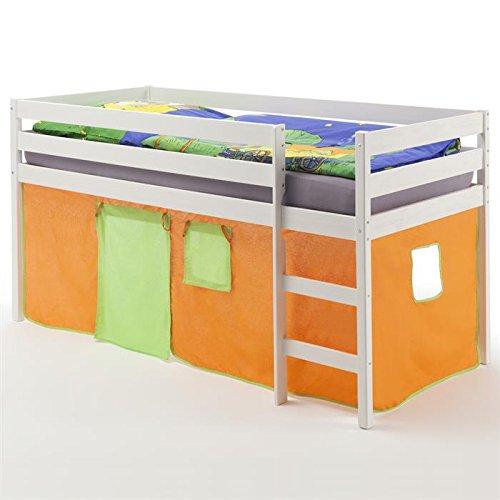 Hochbett Spielbett Kinderbett ERIK, Kiefer massiv, weiß lackiert mit Vorhang in orange/grün kaufen