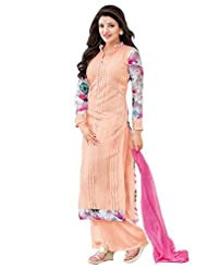 Shonaya Pink Colour Embroidered Georgette Semi Stiched Salwar Suit