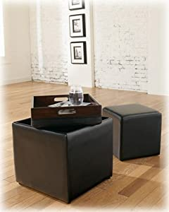 Cubit - Black Ottoman w/ Flip Top - 1 Cube