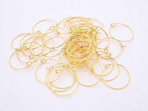 紗や工房 ワイヤーフープピアス ラウンド(約20mm)約20ペア(40ヶ) ゴールド サークル ワイヤーピアスパーツ ピアス金具 副資材 手芸材料 部品