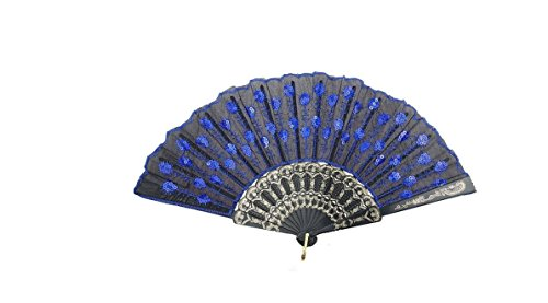 HAO Elegant Colorful Embroidered Flower Peacock Pattern Sequin Fabric Folding Handheld Hand Fan Hand-crafted (Blue)