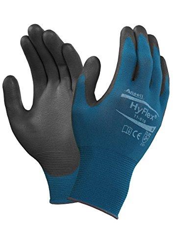 Ansell HyFlex 11-616-Guanti multiuso, protezione meccanica, 7, nero, 12