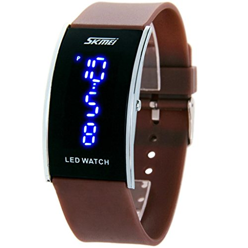 Water Resistant Led Digital Display Alloy Case Silicone Band Arced Dial Sport Electronic Wrist Watch