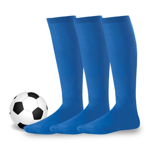 Soxnet Soccer Sports Team 3-Pair Socks - Unisex (Children, Youth, Men, Women) (7-9, Royal Blue)