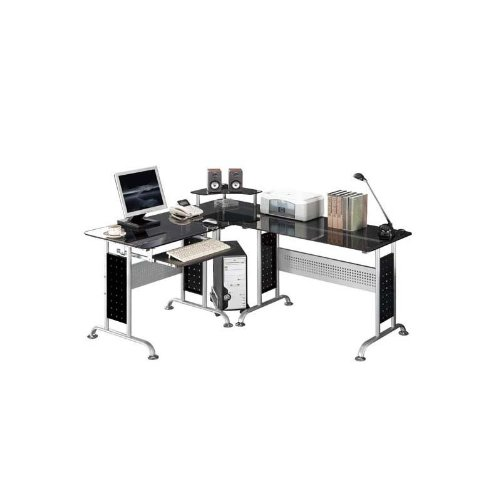 SixBros. Computer Desk - PC Workstation - Office Desk - Glass Black - CT-3807/46