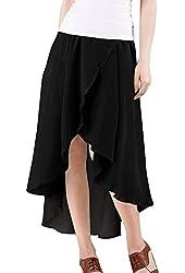 Allegra K Women Elastic Waist Asymmetrical High Low Chiffon Summer Skirts