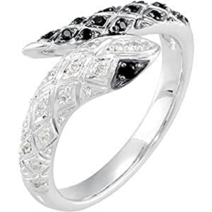 IceCarats Designer Jewelry Sterling Silver Black Spinel And Diamond Snake Ring Size 6