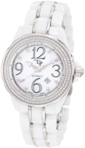 Lucien Piccard Women's 27124WH Celano Automatic Diamond Accented White Mother-Of-Pearl Dial White Ceramic Watch