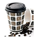 Thali Outlet - 200 x 10oz Mocha + Black Lids Cafe Printed Paper Single Wall Disposable Tea Coffee Cappuccino Hot Drinks Cup