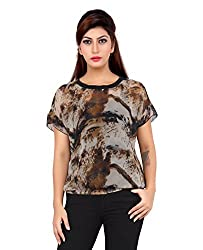 Liwa Brown Polyester Tops For Women