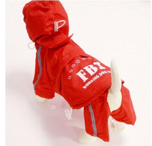 ペット用品 FBI捜査官犬風 レインコート上下セット (赤, XL) 雨の日でも安心 わんこ用可愛い各色サイズ有り♪