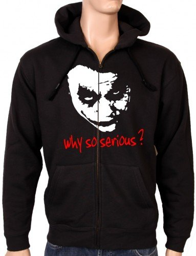 Coole-Fun-T-Shirts - Sweatshirtjacke Why So Serious ? Joker Zipper Hoodie Mit Kapuze, Felpa da uomo, nero(schwarz), M