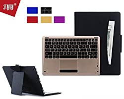 iPad Pro Case, FYY [Luxury Gold Keyboard] Magnetically Detachable Wireless Bluetooth Keyboard Leather Case Smart Cover with Note Holder for Apple iPad Pro 12.9 (2015) Black (with exquisite stylus for free)