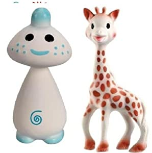Vullie Sophie Giraffe and Chan Blue - Natural Rubber and Food Paint Details Set of 2