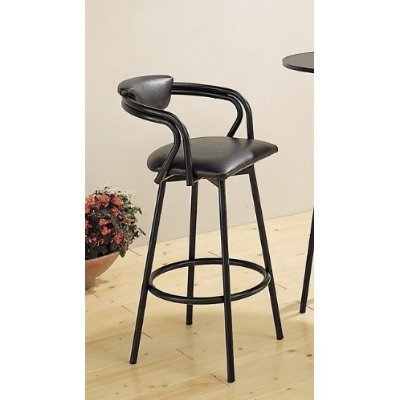 Set of 2 R Style Satin Black Retro Bar Stool Pub Stools