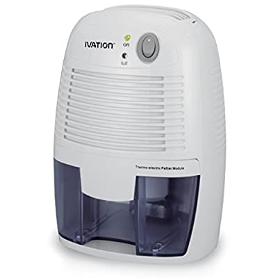 Ivation DehumMini Powerful Small-Size Thermo-Electric Dehumidifier - Quietly Gathers Up to 8oz. of Water Per Day - Great for Smaller Room, Cupboard, Basement, Attic, Stored Boat, RV, Antique Car