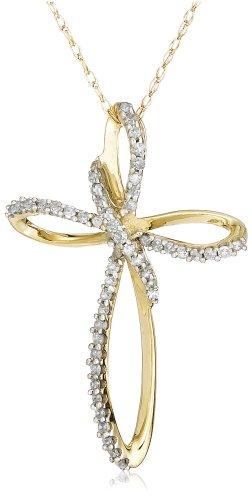 10k Yellow Gold Diamond Cross Pendant (1/5 cttw, I-J Color, I3 Clarity)