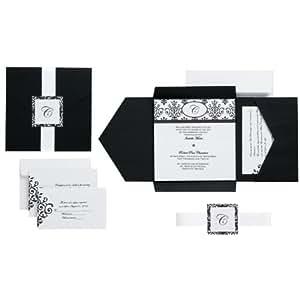 Wilton Black and White Scroll Monogram Pocket Invitation Kit