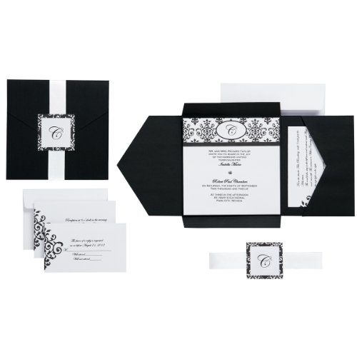Wilton Black & White Scroll Monogram Pocket Invitation Kit