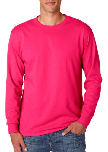 Adult Long-Sleeve Heavyweight Blend T-Shirt (Cyber Pink) (Large)