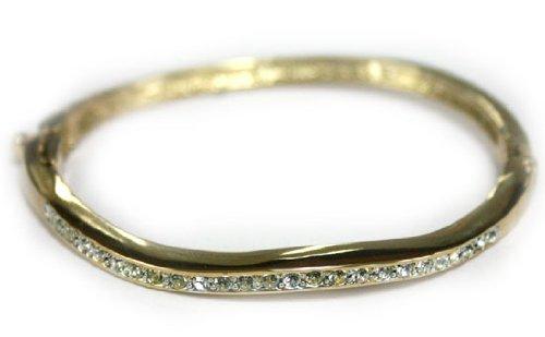 Gold Coated Wave Bangle Bracelet with Cubic Zirconia Rhinestones - Gold and Rhinestone Fashion Bracelet