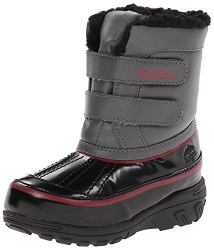 Totes Kids Brandon Winter Boot, Black/charcoal/red (10)