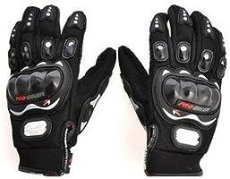 Probiker Leather Motorcycle Gloves (Black, L)