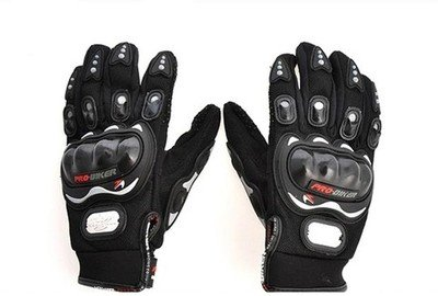 Probiker Leather Motorcycle Gloves (Black, M) By Amazon @ Rs.335