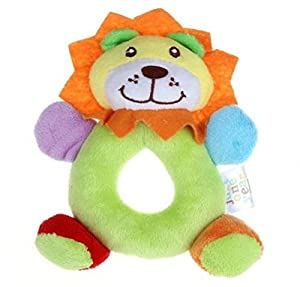 14*13cm Baby Girls Boy Infant Mini Hand Rattle Animal Soft Plush Doll Educational Toys Stuffed & Plush Animals (Lion Green)