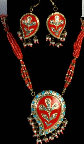 Orange Meenakari Necklace and Earrings Set with Large Paisleys - Lacquer with Cut Glass