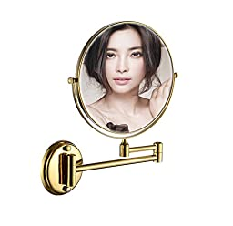 Cavoli 8 Inch Two-sided Wall Mounted Makeup Mirrors with 3x Magnification,gold Finish(8in,3x)