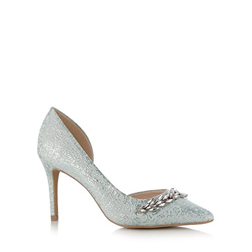 Designer Light Blue Leather Shimmer Leaf Embellished High Court <strong>Shoe