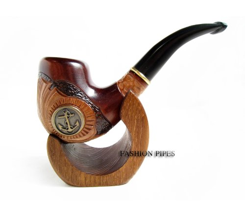 New Gift Set Tobacco Pipe & Stand, ANCHOR METAL Smoking Pipe Carved Pear Root Wood + Stand Gift! - The Best Price Offer !!!