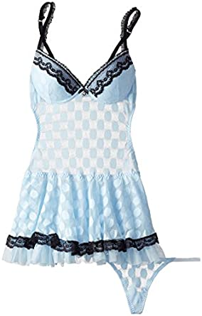 Cinema Etoile Women's Heather-Molded Cup Apron Babydoll In Metallic Dots, Misty Blue, Small