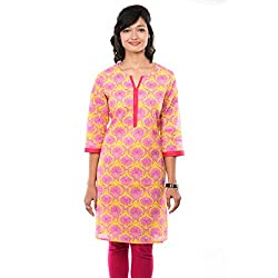 Saamarth Impex Block print Pink & Yellow Color Cotton Reversible Style 3/4 Long Kurties SI-2070