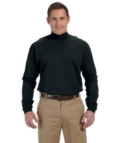 Unisex Sueded Cotton Jersey Mock Turtleneck Shirt, Color: Na