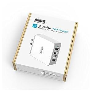 Cargador de Pared Anker 36W con 4 puertos USB y tecnología PowerIQ para iPhone, iPad, Samsung Galaxy, Nexus, HTC, Motorola, LG y más, color blanco
