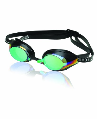 Speedo Speed Socket Mirrored Swim-Swimming Anti-Fog Racing Goggles (Black Green)