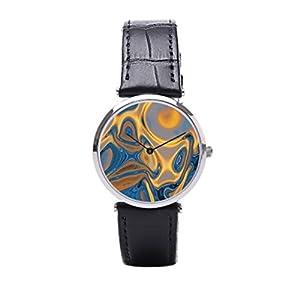 Dr. Koo Designer Mens Black Leather Watches Modern Wrist Watch