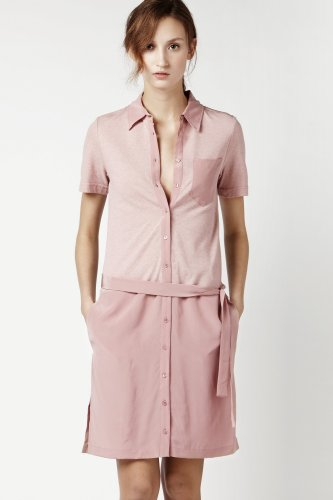Short Sleeve Pique Silk Crepe Button Front Polo Dress