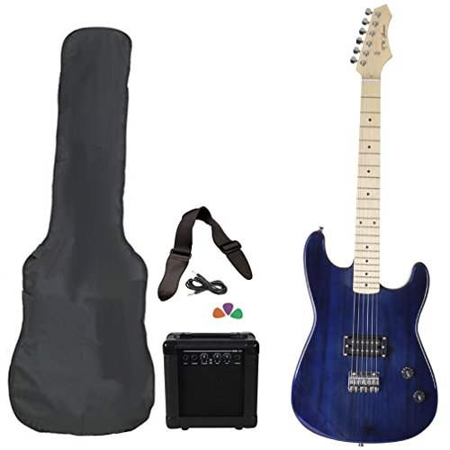 Jameson Guitars Rwgt280Tbl Full Size Electric Guitar Package With Amplifier Case And Starter Accessories Pack, Blue