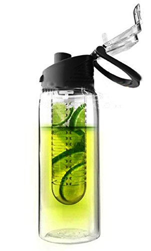 Triton Sporting Fruit Juice Bottle Infuser Bike Water Bottle Flip Lid 800Ml Bpa Free (Black)