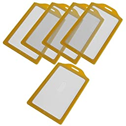 Plastic Vertical Business Name Card Holder, 5PCS, Yellow Clear
