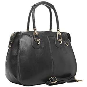 MG Collection MARISSA Black Top Double Handle Doctor Style Handbag