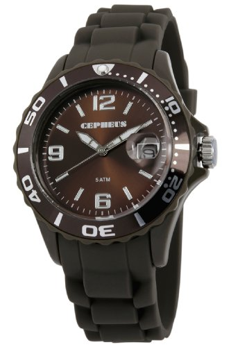 Cepheus Women's Quartz Watch with Brown Dial Analogue Display and Brown Silicone Strap CP603-095