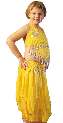 Belly dancer costume for child in yellow